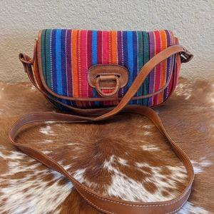 Colorful Tata Crossbody Leather Trim Bag